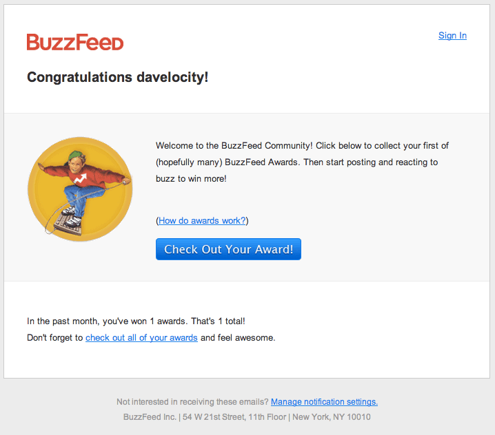best welcome emails, buzzfeed welcome email