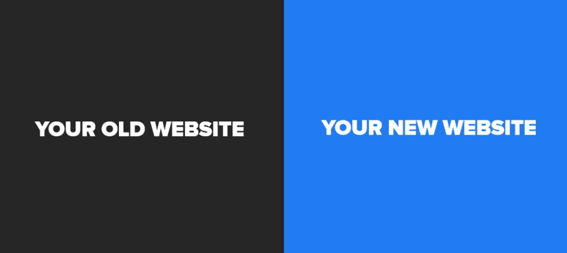 old website vs new website text